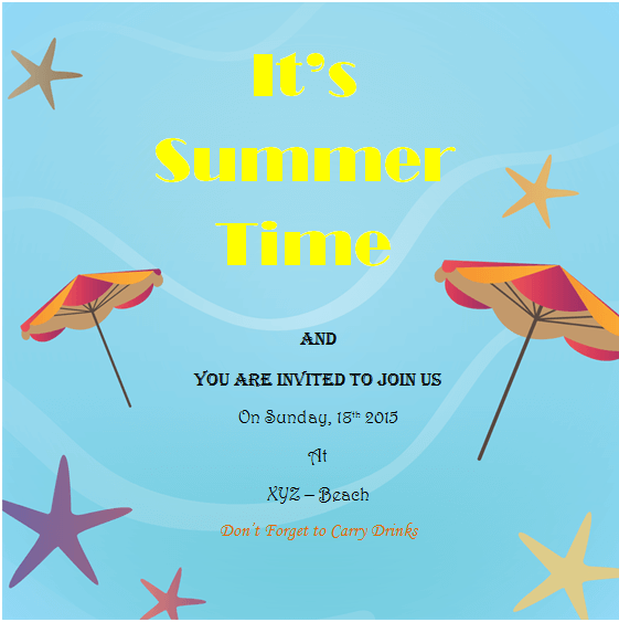 Summer Holiday Invitation Templates