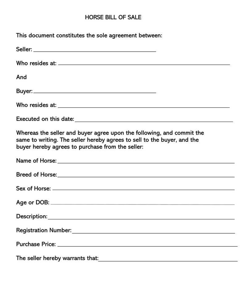 Horse Bill of Sale Form 01