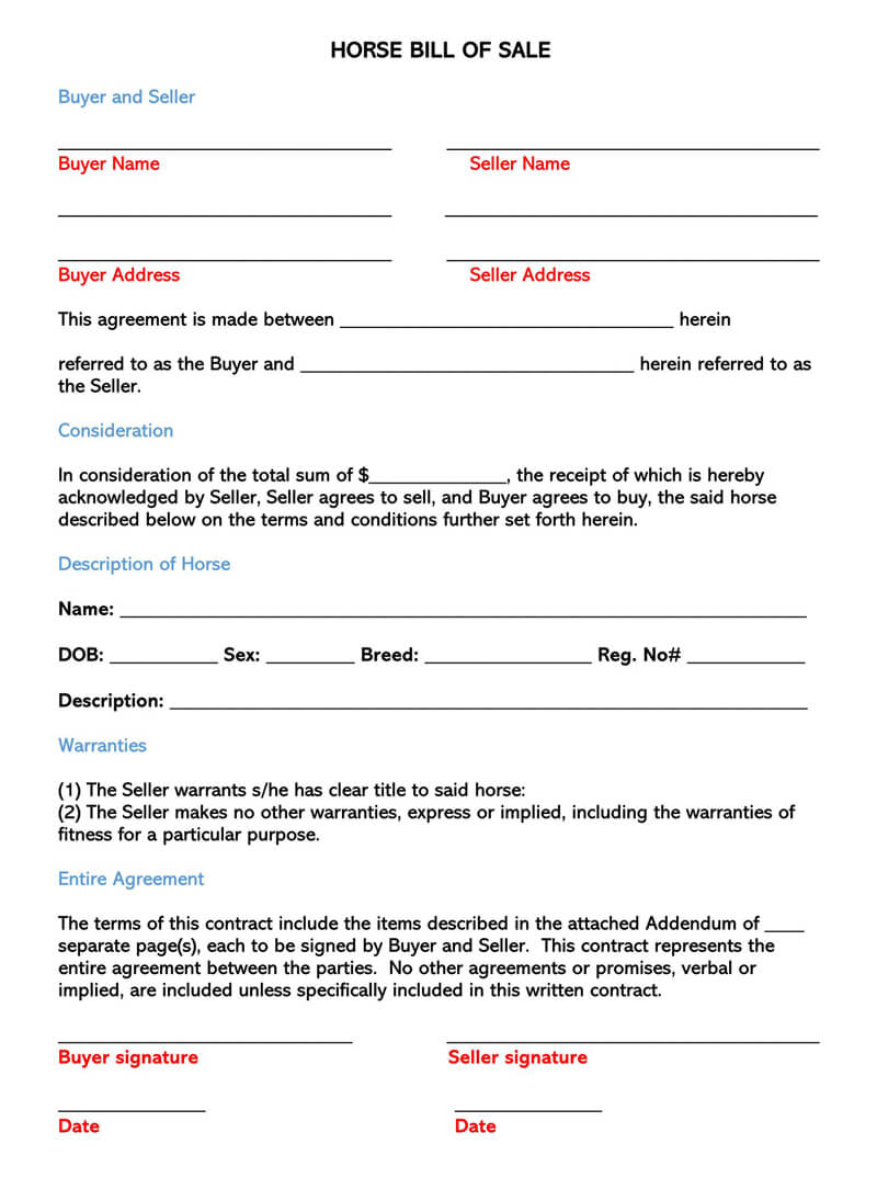 Horse Bill of Sale Form 03