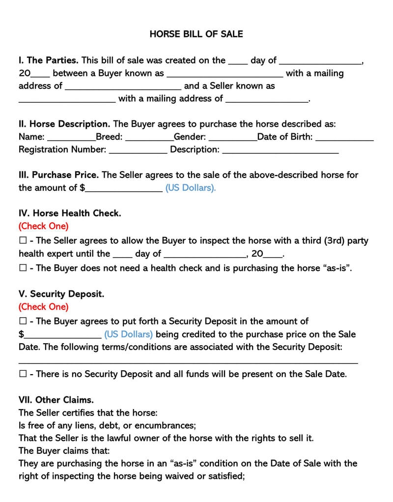 Horse Bill of Sale Form 04
