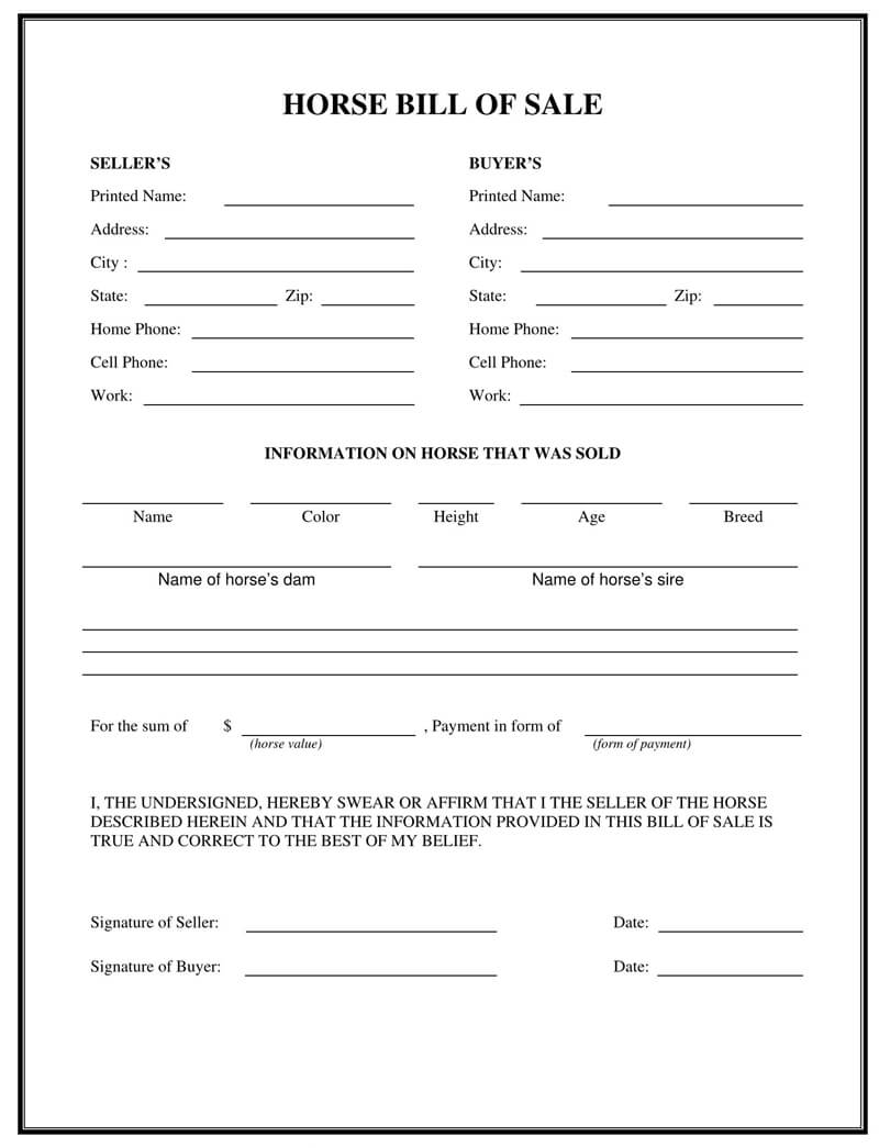 Horse Bill of Sale Form 08