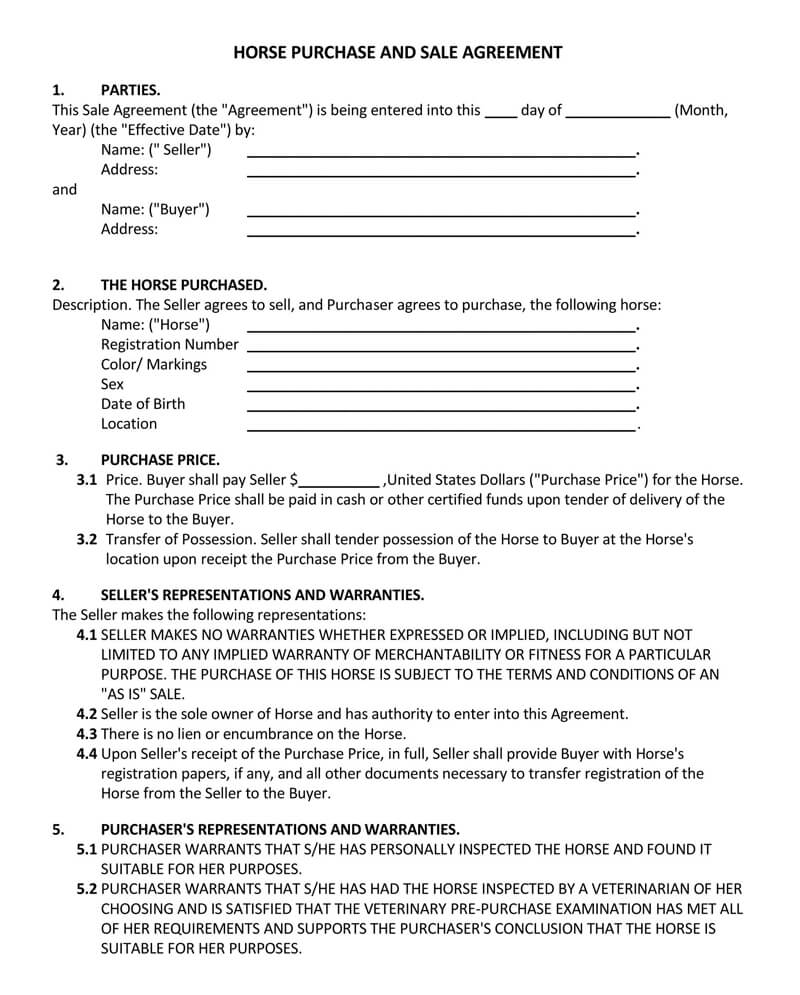 Horse Purchase and Sale Agreement Form
