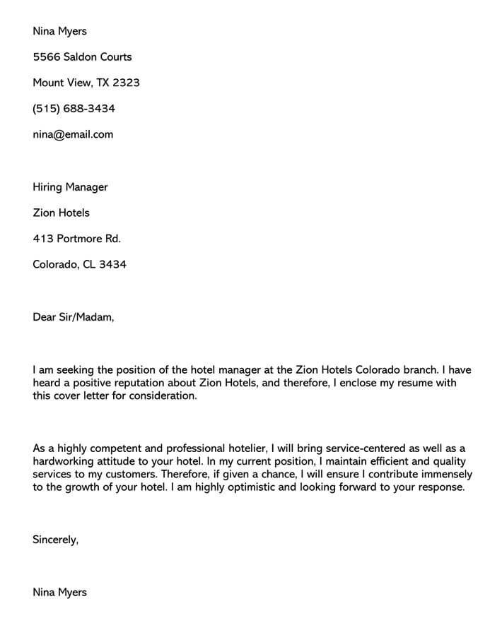 Hotel Management Customer Service Cover Letter (Word Format)