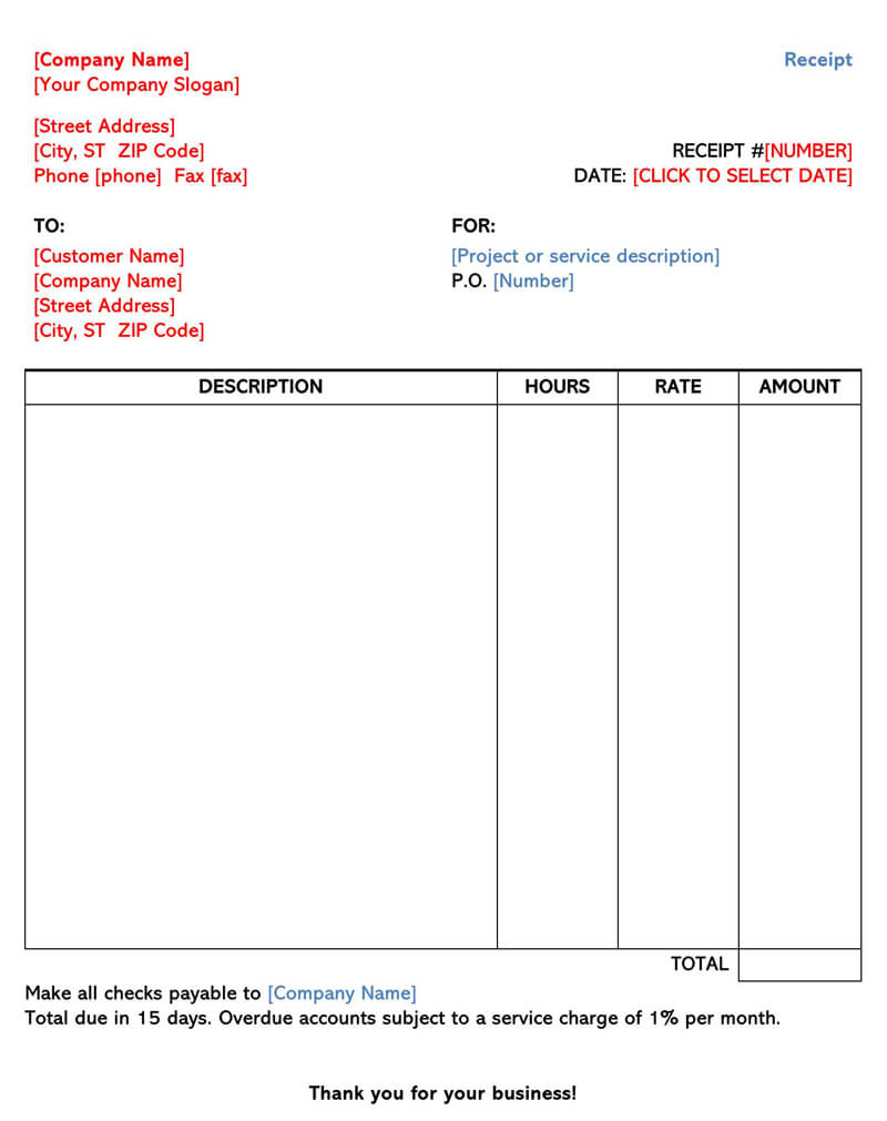 30+ Free Service Receipt Bill Templates Word   Excel   PDF
