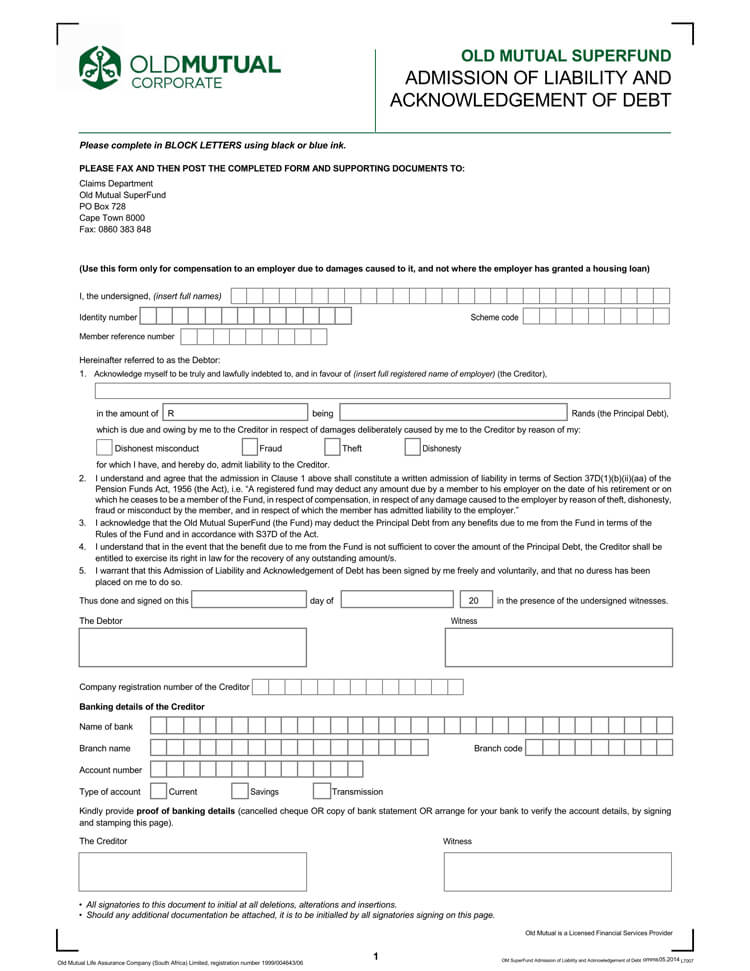 IOU Form Template 07