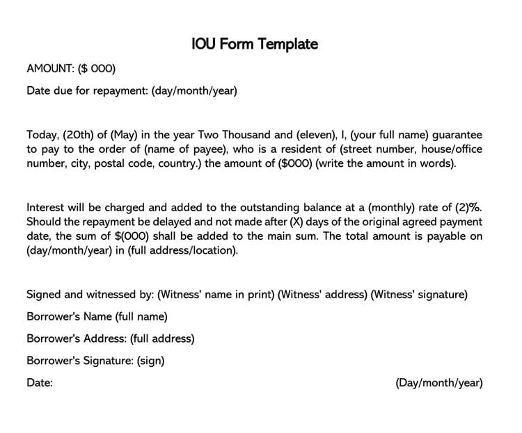 IOU Form Template 11