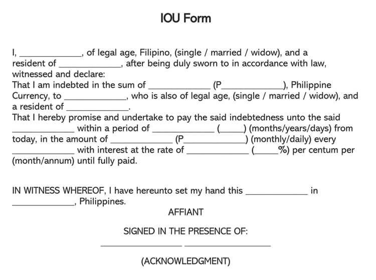 IOU Form Template 17
