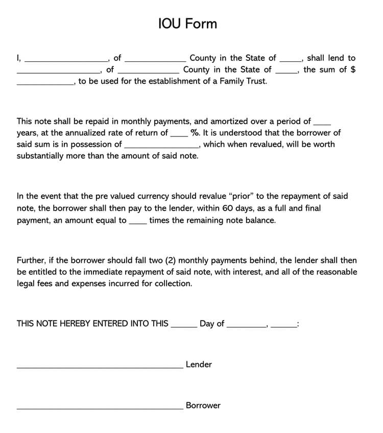 IOU Form Template 19