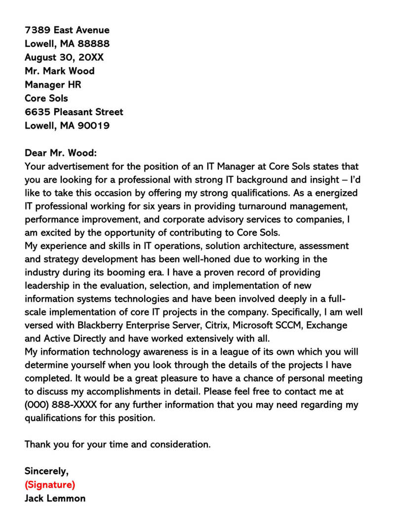 Housekeeping Manager Cover Letter Sample | CLR