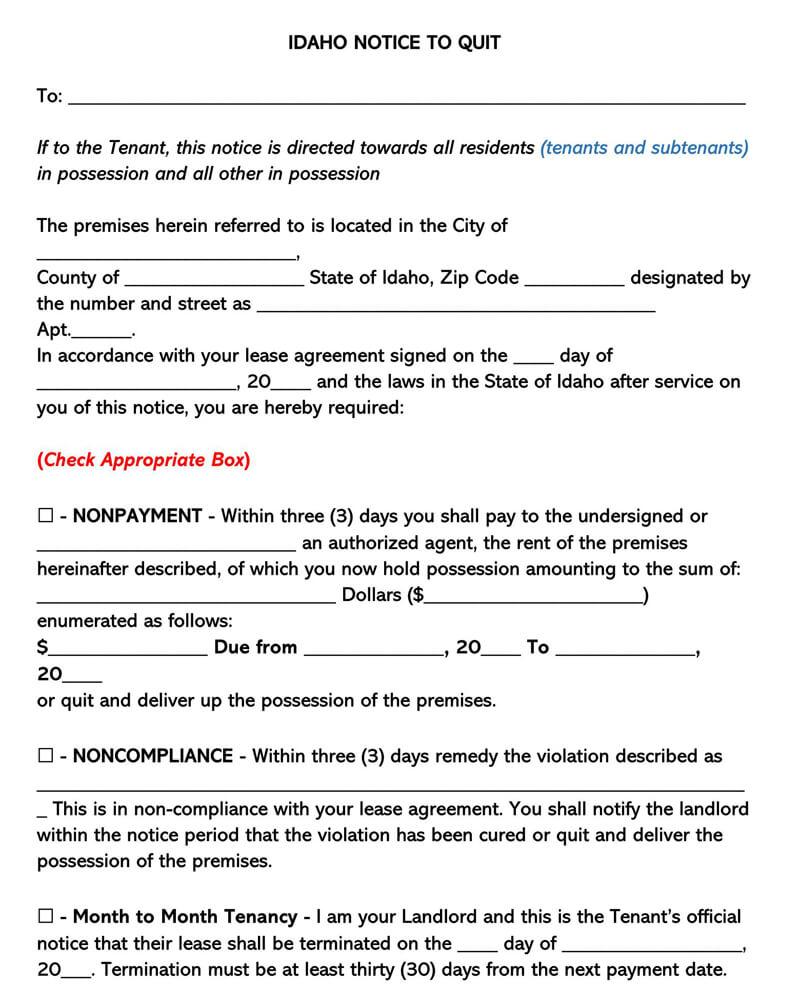 Idaho Eviction Notice Form