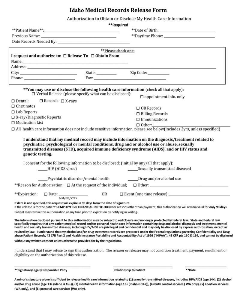 Idaho HIPAA Medical Records Release Form