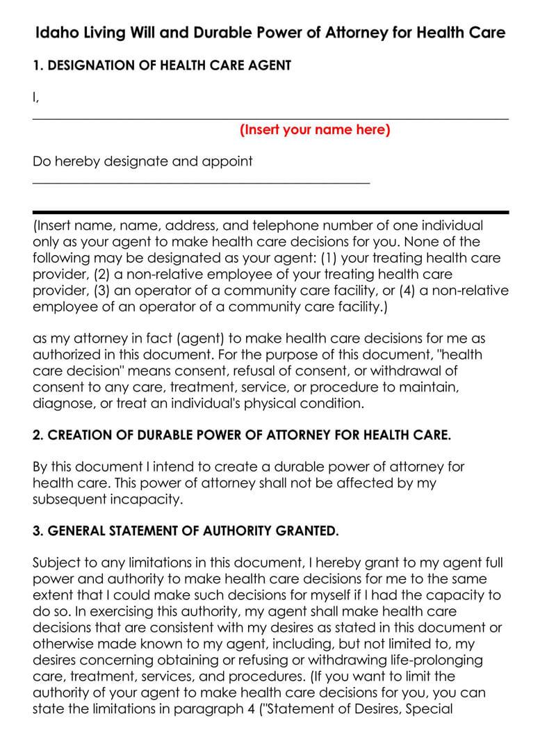 Idaho Medical POA Form