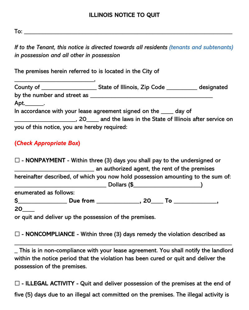 Illinois Eviction Notice Form