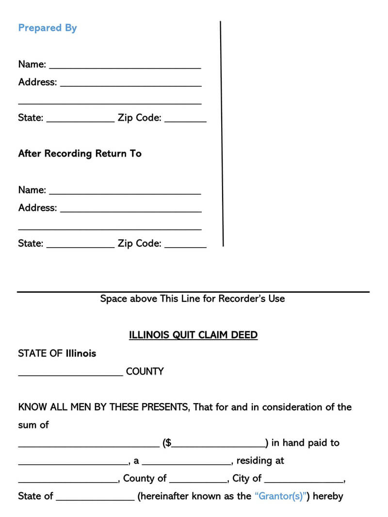 quick claim deed form for illinois  Free Quitclaim Deed Forms & Templates (by State) Word|PDF