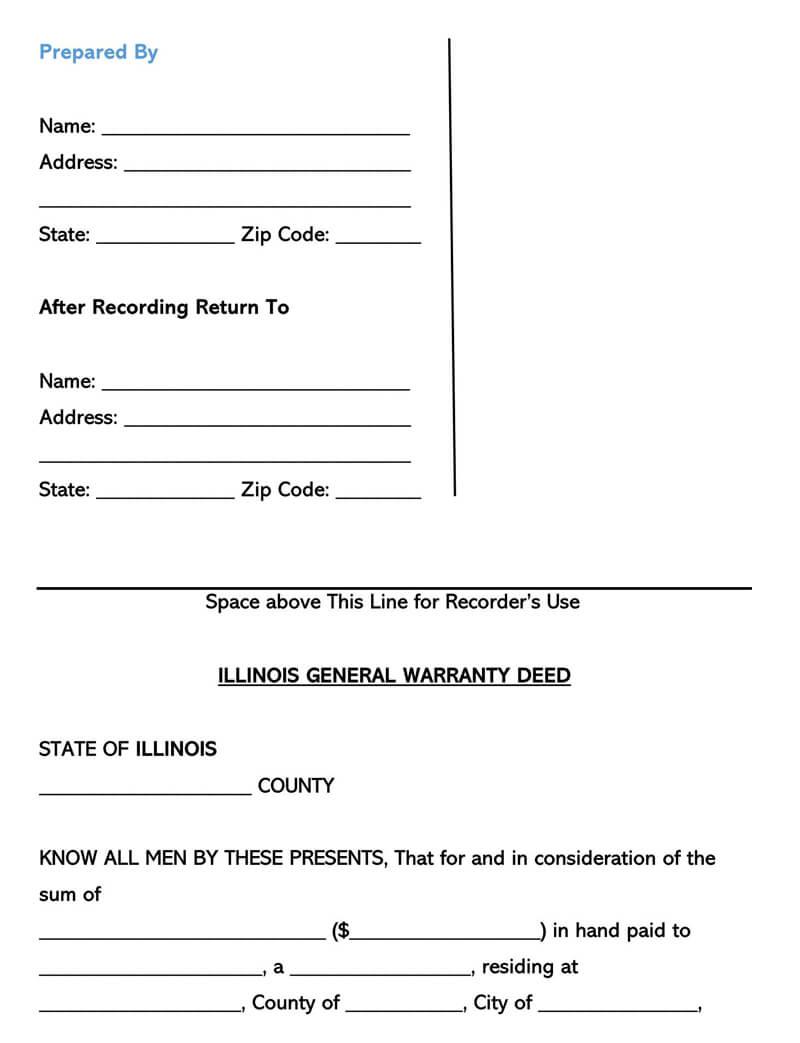 Illinois Warranty Deed Form