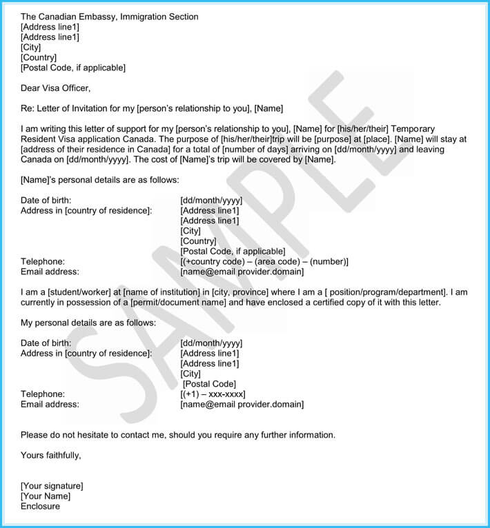 Immigration Reference Letters   Samples  Templates