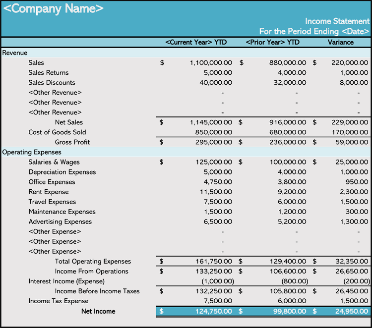 Income Statement Template for Excel free Download