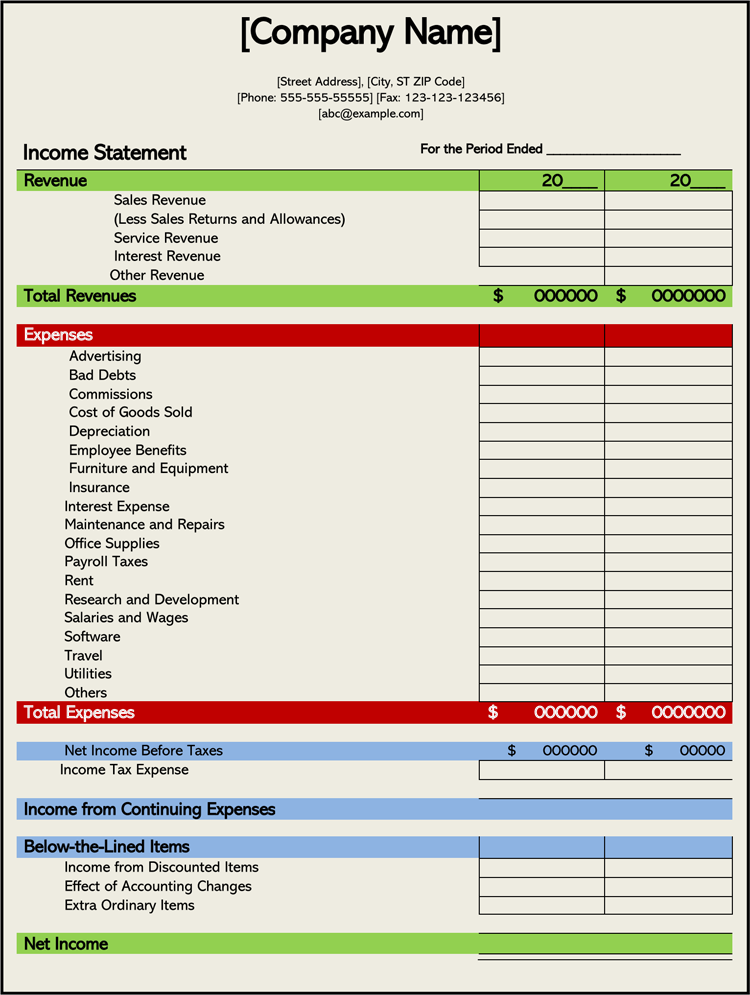 Income Statement Template for Microsoft Word
