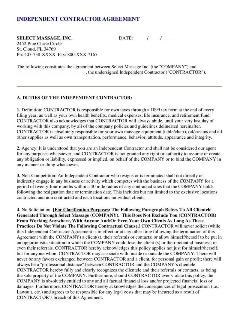 Independent Contractor Agreement PDF Template