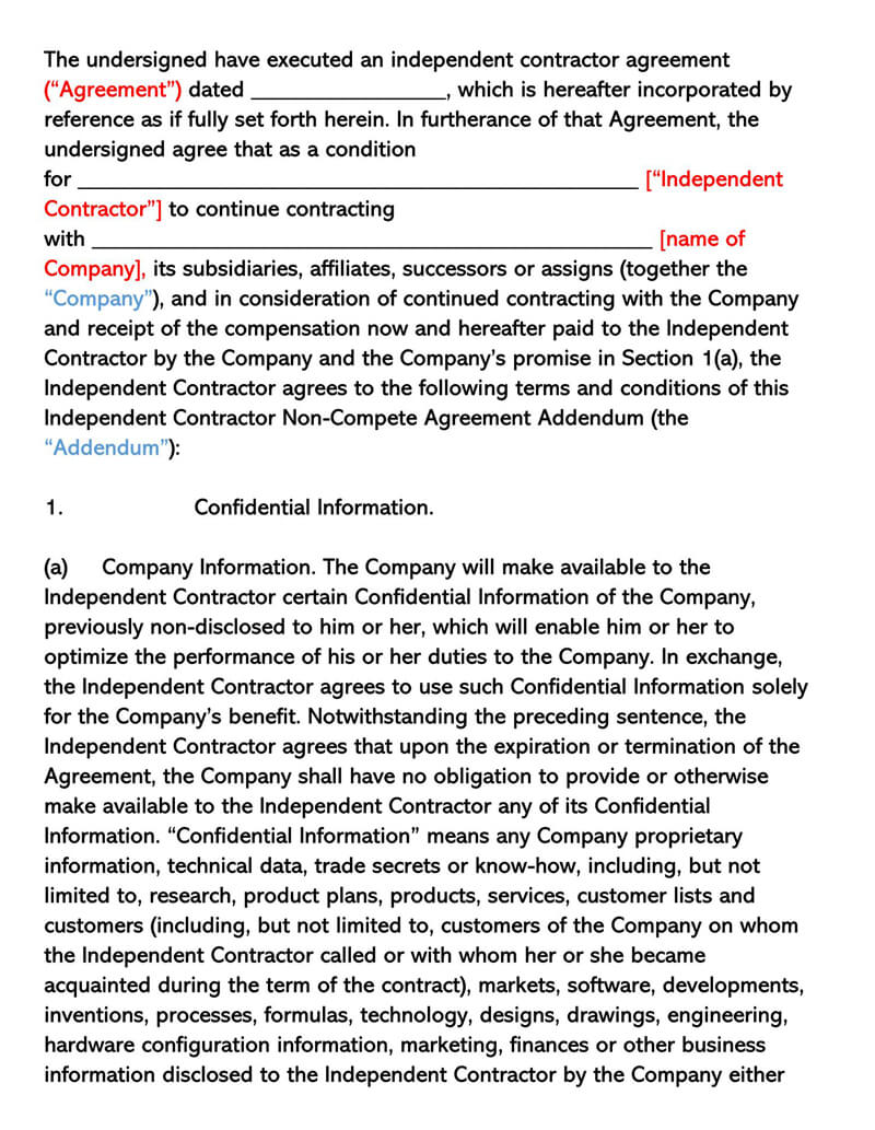 Independent Contractor Non-Compete Agreement Addendum