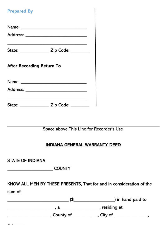 Indiana Warranty Deed Form