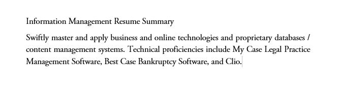 Information Managment Resume summary