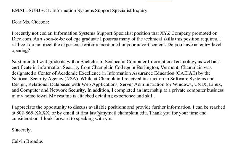 Information Technology Email Cover Letter