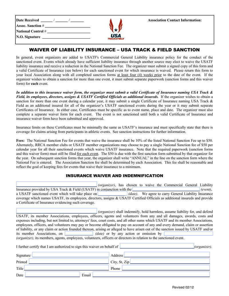 Insurance Liability Waiver Form Template