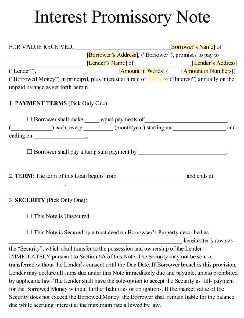 Interest Promissory Note PDF Form