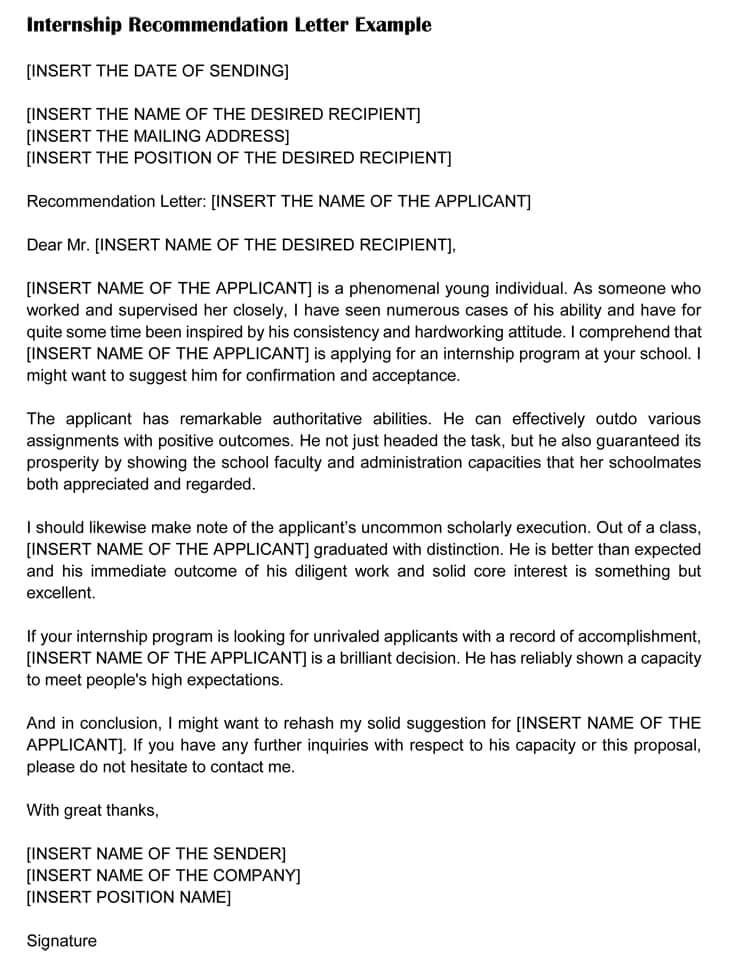letter of recommendation template for internship