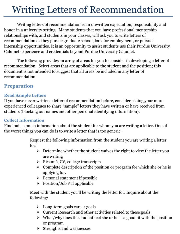 recommendation letter format for internship