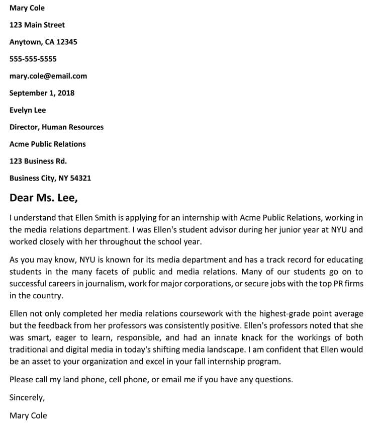 recommendation letter for internship pdf