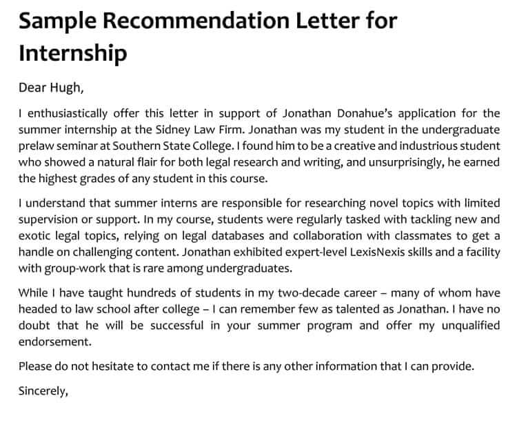 15  sample recommendation letters for internship  and
