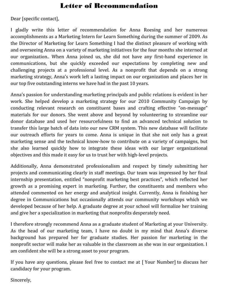 recommendation letter format for student internship