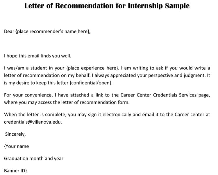 recommendation letter for an internship student