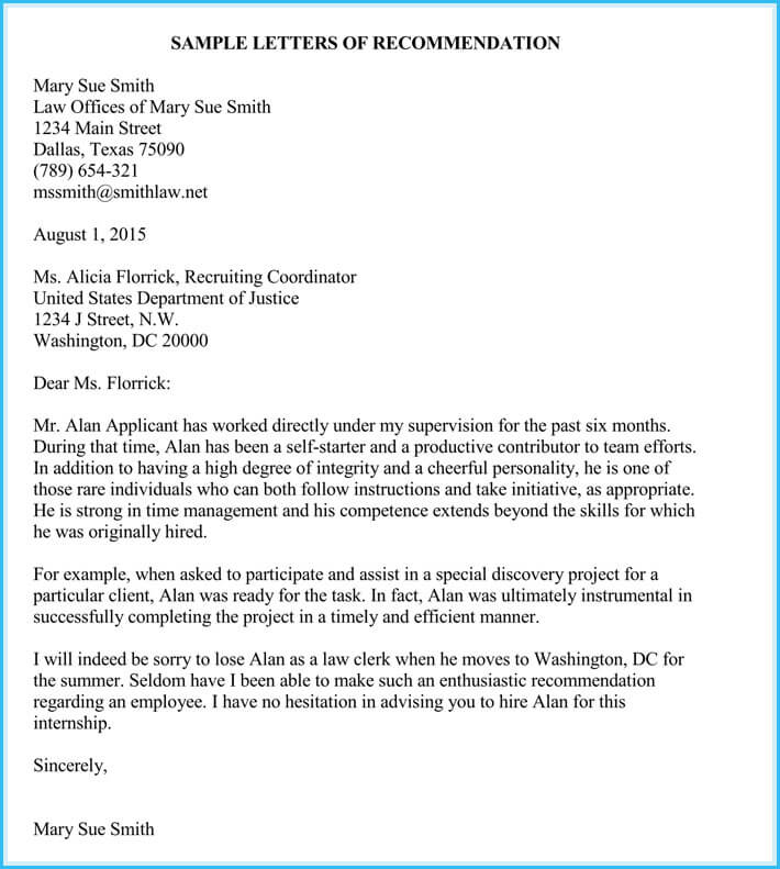 Printable Internship Reference Letter