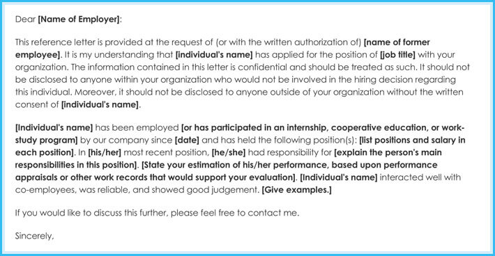Employment Internship Reference Letter Example