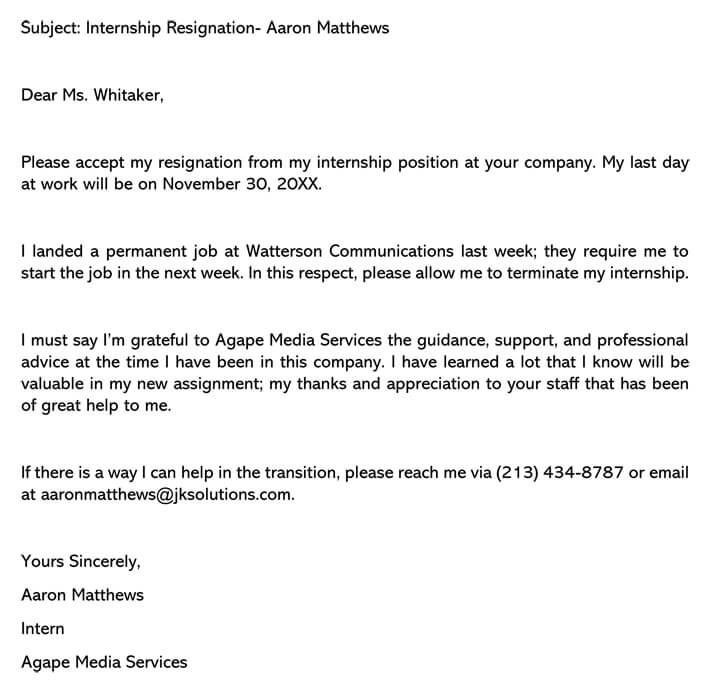 Internship resignation letter email example