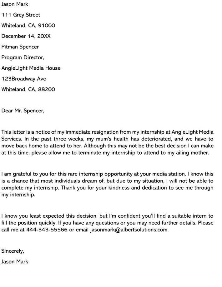 Immediate Letter Of Resignation from www.wordtemplatesonline.net