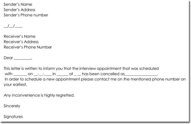 Interview Appointment Cancellation Letter Format