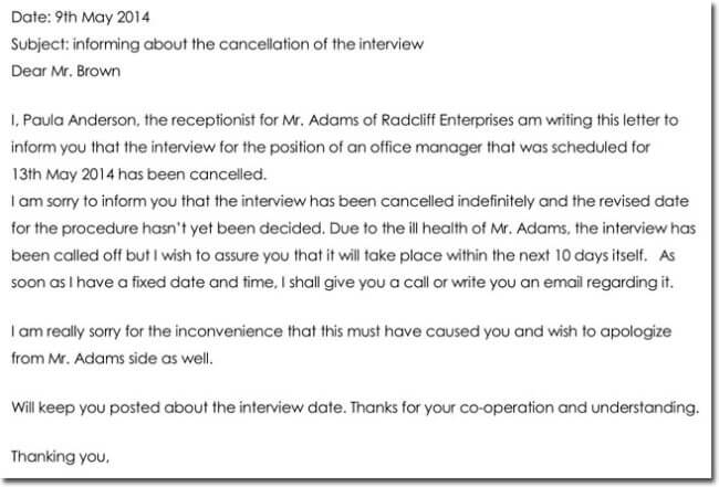 Interview Appointment Cancellation Letter Sample