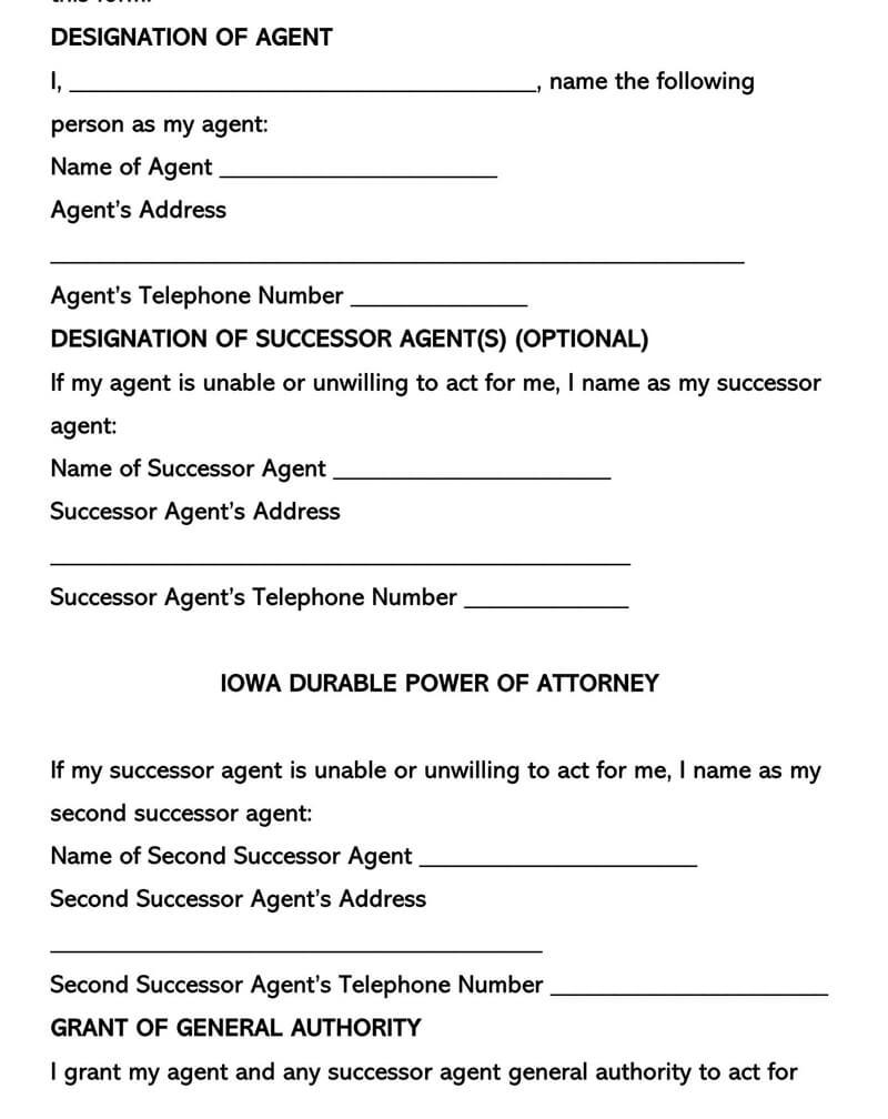 Iowa Durable POA Form