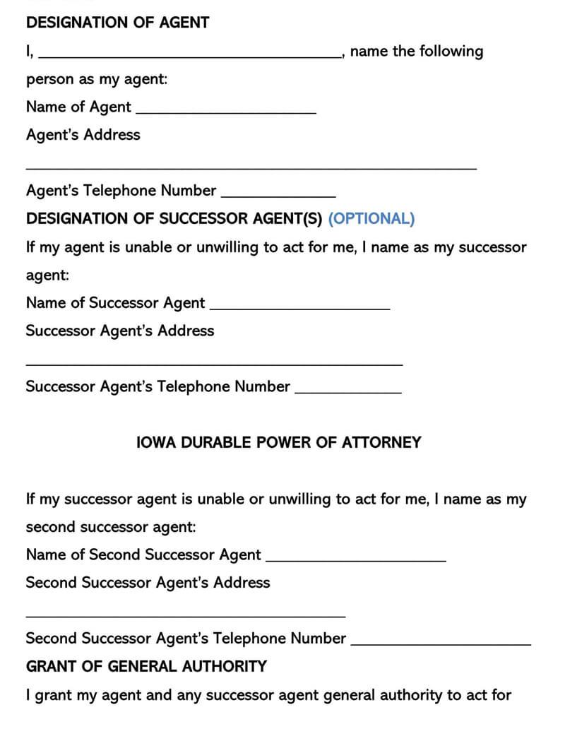 Iowa Power of Attorney  Form