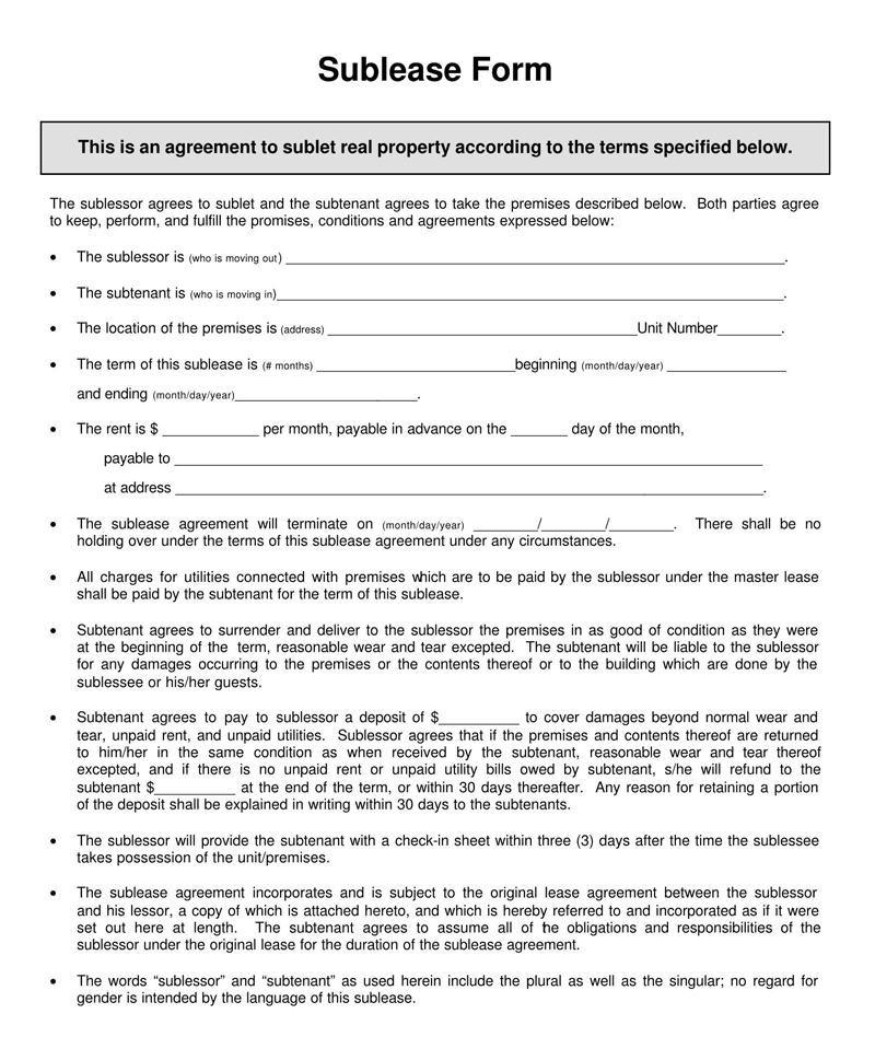 Iowa SubLease Agreement Template