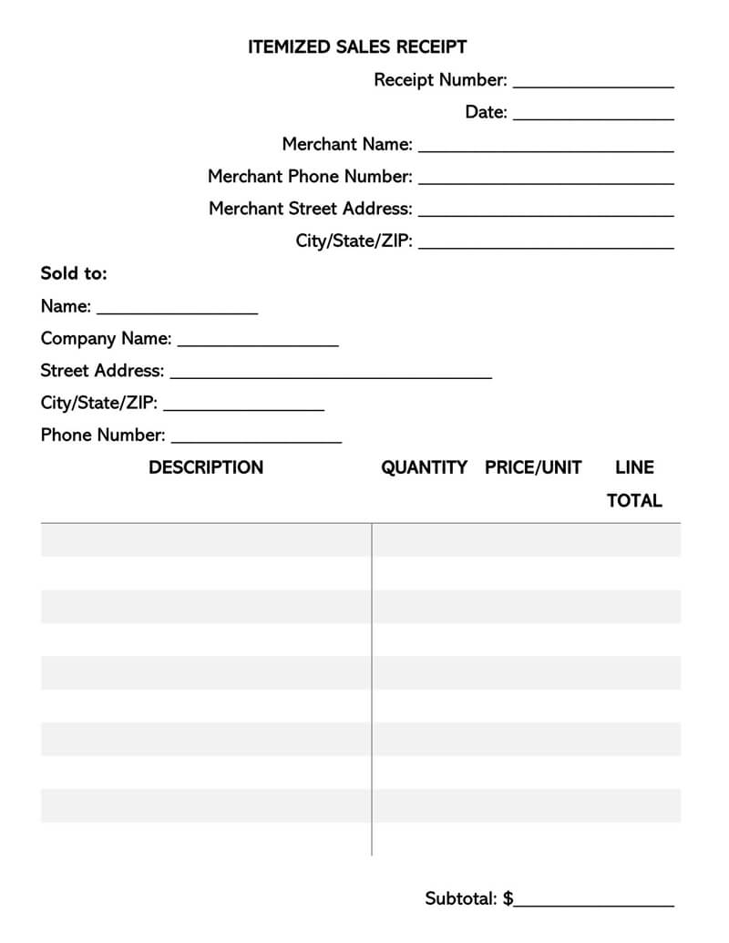 Itemized Sales Receipt Template