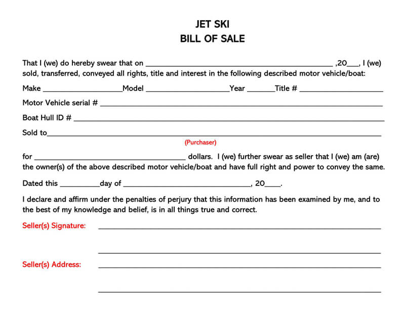 Jet Ski Bill of Sale Form 03