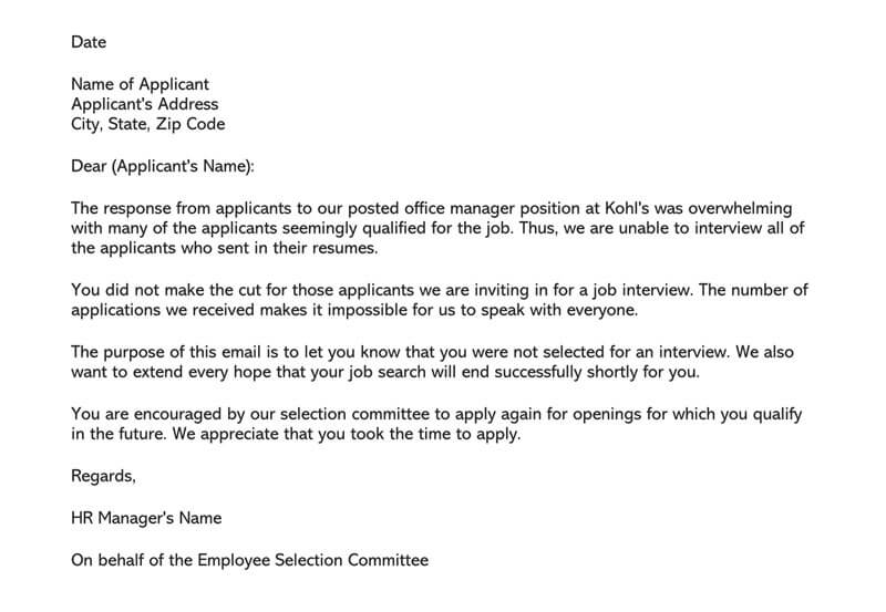 Job Applicant Rejection Letter Example