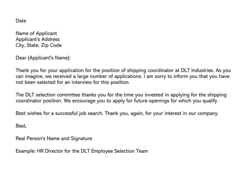 Job Applicant Rejection Letter Sample