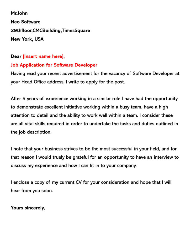 Job Application for Software Developer Cover Letter