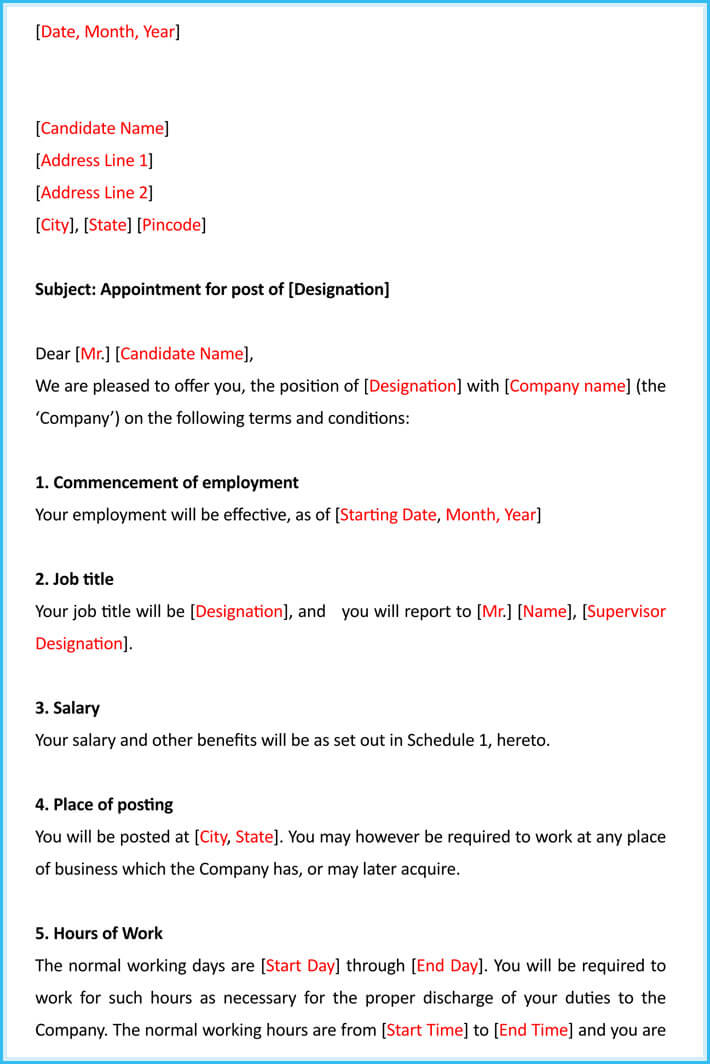 Job appointment letter 12 samples templates writing tips printable job appointment letter altavistaventures Gallery
